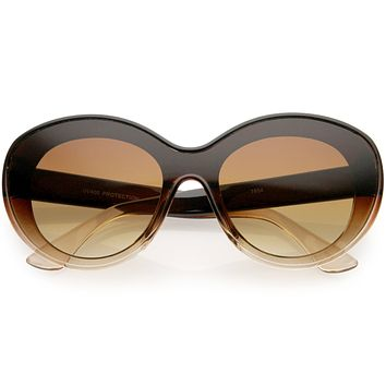 Elegant Oversize Retro Shield Neutral Colored Lens Oval Sunglasses D067