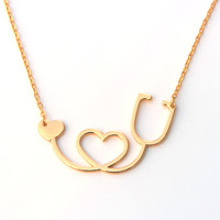 Medical Stethoscope Heart Collar - 18K Rose Gold/Gold/Silver Plated