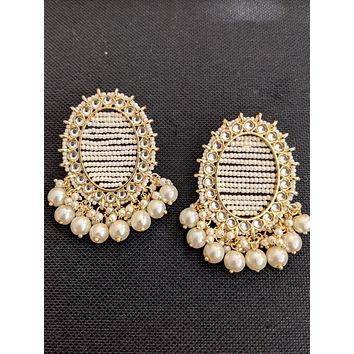 Large Oval stud with pearl bead dangle Earrings