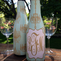 Chandelier Personalized Wine Koozie. Great gift for Bachelorette Party, Bridesmaids or Girl's Weekend! Dress up your Wedding Reception wine.