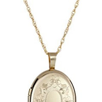 14k Gold-Filled with Floral Design and Center Signet Oval Hand Engraved Locket Necklace, 18""