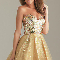 Gold Tulle Sequins Short Homecoming Evening Prom Gown/Sz6 8 10 12 14/IN STOCK