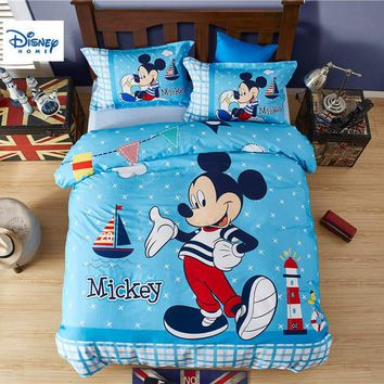 plaid Mickey Mouse bedding set twin size comforter duvet covers for kids bedroom decor queen bed sheets cotton bedspread 3-5 pcs