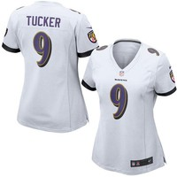Women's Baltimore Ravens Justin Tucker Nike White Game Jersey