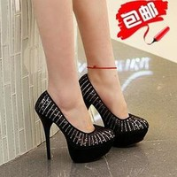 Super-thick waterproof nightclubs high-heeled shoes