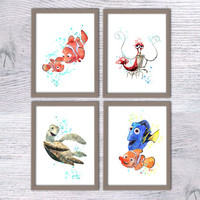Finding Nemo print, Disney art, Set of 4, Nursery poster, Crush, Jacques, Turtle, Marly and Dory, Baby shower, Nemo print, Kids room, V46
