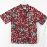 Hilo Hattie Shirt L size Mens Burgundy Floral Hawaiian Vacation Party Aloha