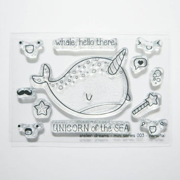 Mini Series 003 - Narwhal - Planner Stamps (Photopolymer Clear Stamps) Erin Condren and InkWell Press, narwhal stamp