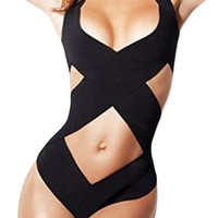 Black Halter Crisscross One Piece Bathing Suit