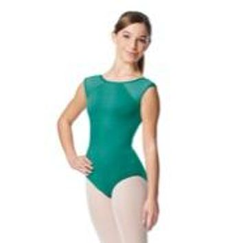 Lulli Girl's Yoke Mesh Cap Sleeve Jade Leotard