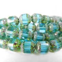 Aqua Blue Picasso Czech Glass Beads 22pcs Green Patina 8mm Strand