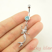 mermaid belly button jewelry,mermaid belly button rings,mermaid navel ring,lucky piercing belly ring,friendship piercing bellyring