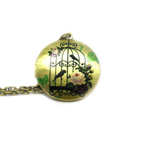 Locket Necklace, Charm Necklace, Long Bronze Necklace, Birdcage Necklace, Memory Locket, Birdcage Locket Necklace, Picture Locket Necklace