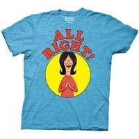 Bob's Burgers Linda Belcher All Right! Licensed Adult T-Shirt - Blue