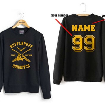 Custom name and number on back Hufflepuff Quidditch team Captain YELLOW front Black Crew neck Sweatshirt