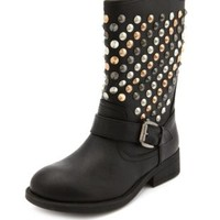 Multicolor Stud Motorcycle Bootie by Charlotte Russe - Black