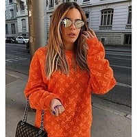 LV Louis Vuitton Womens 3D three-dimensional printing letters round neck long-sleeved T-shirt all-match sweater T-shirt