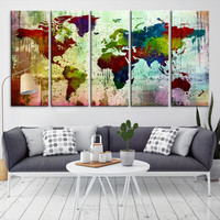 91692 - Large Wall Art World Map Canvas Print-  Watercolor World Map Travel Canvas Print- Modern XXL Large Wall Art World Map Canvas Print