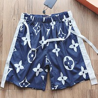 LV New fashion monogram print couple shorts Blue