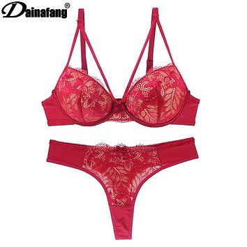 Lace Intimate Push up Bra and Thong Set