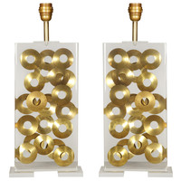 Incredible Pair Of Inclusion Lucite Lamps By Romeo Paris
