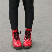 Ladies New Red Patent DM Style Lace Up Ankle Shoe Boot from revolva