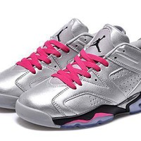 Hot Air Jordan 6 Low Women Shoes Silver Black Pink