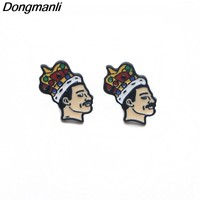P3079 Dongmanli Singer band Music Art Freddie Mercury Pierce Ear Stud Cute Earrings For Womens Enamel Earrings Fans Gifts Girls