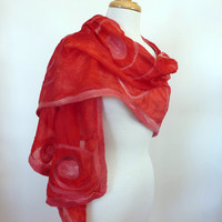 Scarlet Red Silk Wrap or Stole Hand Painted Silk and Wool Felted Large Scarves