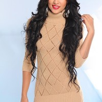 Gold Metallic Knit Sweater Dress with Half Length Sleeves