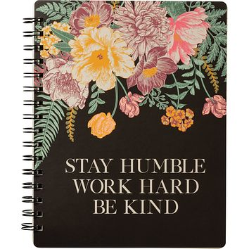 """Stay Humble Work Hard Floral Double-Sided Spiral Notebook   Art on Both Sides   5.75"""" x 7.50""""   120 Lined Page"""