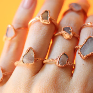 Electroformed Copper Clear Sea Glass Ring