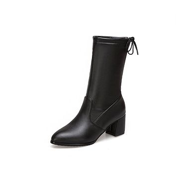 Faux Leather Mid Calf Boots Winter Shoes for Woman 1657