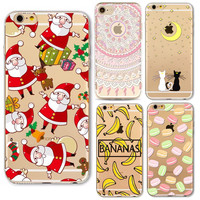 Phone Case For iPhone 6 6s Plus SE 5 5s Back Cover Christmas Gift Flowers Cat Cartoon Grils Banana Panda Silicone coque Capa