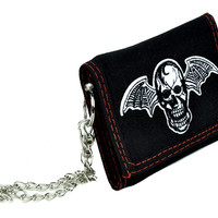 Bat Wing Death Skull Tri-fold Wallet w/ Chain Occult Clothing