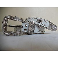 B.B. Simon White Studded Crystal Belt