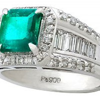 1.93 ct Emerald and 0.92 ct Diamond, Platinum Dress Ring - Contemporary Circa 2000