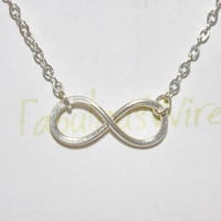 Infinity Necklace - Sterling Silver Wire Jewelry, Love Friendship Silve Necklace, Lovers, Couple, Friends Infinity Gift