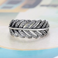 Light As A Feather Clear Zircon Pandora Ring Compatible With Wedding Rings For Women Jewelry Accessories Gift