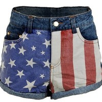 US USA American Flag Printed Low Rise Denim Jeans Women's Shorts Hot Pants - X-Small