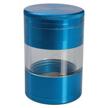 Aluminum Grinder– Turquoise - 4 part – 50mm - with Window