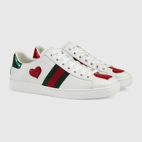 Indie Designs Gucci Inspired AceHeart Embroidered Low-top Sneakers