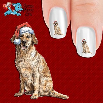 Golden Retriever in Santa Hat Nail Art Decals (Now! 50% more FREE)