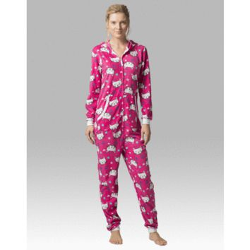 Cat Pj's - Hooded  Adult Pajamas - Ruffles with Love - RWL