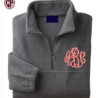 Pullover Quarter-Zip Fleece Monogrammed UNISEX- RUNS LARGE