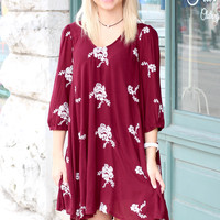 Lovers Open Back Embroidered Dress {Wine}