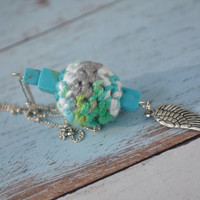 Angel Wing Necklace Silver Turquoise Bead Crochet Handmade Jewelry Gifts Chain Pendant