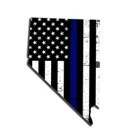 Nevada Distressed Subdued US Flag Thin Blue Line/Thin Red Line/Thin Green Line Sticker. Support Police/Firefighters/Military