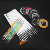 Nail Art Design Set 5 Dotting Painting Drawing 15 Polish Brush 32 Striping Tape = 5658893569