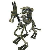 Sugarpost Gnome Be Gone Cowboy On Horse Welded Creative Metal Art Large